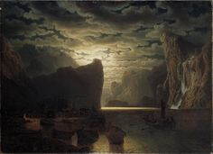 Norwegian Fjord In Moonlight. Motif From The Sogne-fjord Painting by Marcus Larson