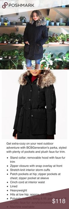 Faux fur trim heavy weight parka Description is a detail imagine above BCBGeneration Jackets & Coats Puffers