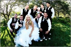 adorable bride & groomsmen shot