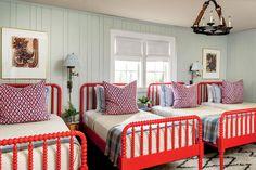 Aqua walls, red bed frames -  Barrie Benson