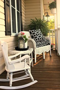 Decoration, Amusing Joyful Summer Porch Decor Ideas With Modern Designer Sofas And Chairs: 36 Enjoyable Small Summer Front Porch Decorating Ideas Summer Porch Decor, Summer Front Porches, Small Front Porches, Decks And Porches, Sofa Design, Interior Design, Porch Furniture, Wood Furniture, Modern Farmhouse Exterior