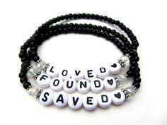 Armbandenset LOVED FOUND SAVED zwart wit sieraden