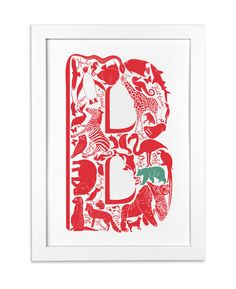 Letter B for a childs room http://www.lucylovesthis.com/ourshop/prod_2690877-Animal-Alphabet-Letter.html