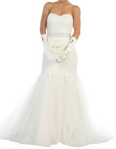 lace and tulle ivory wedding dress
