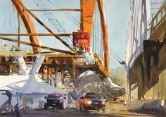 Andy Evansen, Bridge Builders, watercolor, 15 x 20.