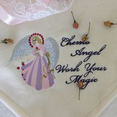 Chemo Comfort Embroidered Angel Blanket/Throw by LoisLizzaCreations on Etsy