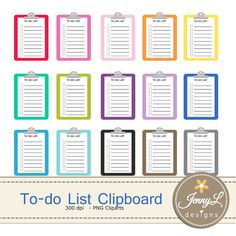 To-do List Clipboard Clipart for Planners, Digital Scrapbooking, Invitations, cupcake toppers, Stickers, Labels by JennyLDesignsShop on Etsy https://www.etsy.com/listing/279526966/to-do-list-clipboard-clipart-for