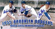 Roger Craig Clem Labine and Johnny Podres signed Photo (Brooklyn Dodgers 1955 World Series Winning Pitchers) Dodgers Fan, Dodgers Baseball, Bobby Richardson, Don Baylor, Dodger Blue, Mickey Mantle, Babe Ruth, Sports Figures