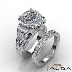 Heart Diamond Vintage Engagement EGL E SI1 14k White Gold Bridal Set Ring 4 9 Ct | eBay