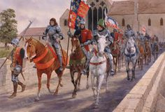 King Richard III leads his army out of Leicester, past Austin Friars and over Bow Bridge, en-route to Bosworth and his fateful confrontation with the invading army of his adversary for the throne, Henry Tudor. by Graham Turner Medieval Knight, Medieval Art, Medieval Times, Lancaster, King Richard 111, Graham Turner, Warrior King, Late Middle Ages, Wars Of The Roses