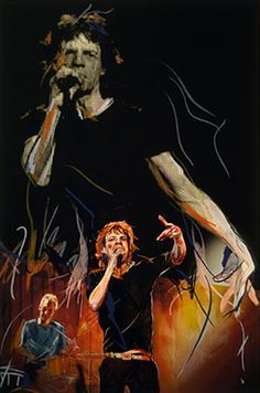 Ronnie Wood doesn't just rock on stage with the Rolling Stones he also rocks the canvas. Ronnie captures the music scene intimately portray. Ronnie Wood Art, Beatles, Wood Artwork, Wood Paintings, Rolling Stones Logo, El Rock And Roll, Ron Woods, Moves Like Jagger, Greatest Rock Bands
