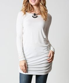 Take a look at this Ivory Ruched Scoop Neck Tunic today!