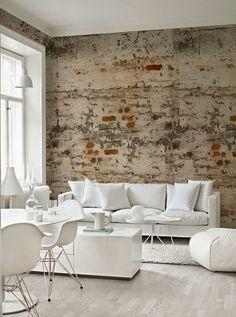 brick wallpaper and white furniture in contemporary home interior