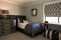 Bedroom featuring Double Wide Roman Shade in Kelly Wearstler Katana in Ebony/Ivory (comes in 4 colors) Blue Teen Girl Bedroom, Young Mans Bedroom, Bedroom Black, Bedroom Green, Double Bedroom, Katana, Blue Painted Walls, Blue Walls, Grey Bedroom With Pop Of Color