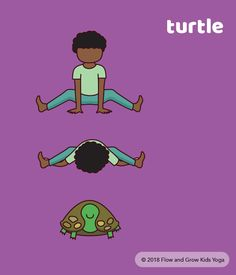 Turtle Pose - spring yoga pose for kids