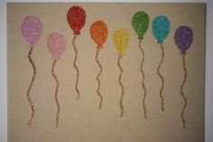 glittery balloon cards