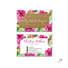 Floral Business Cards  Calligraphy Logo by GoldenStreetsDesign