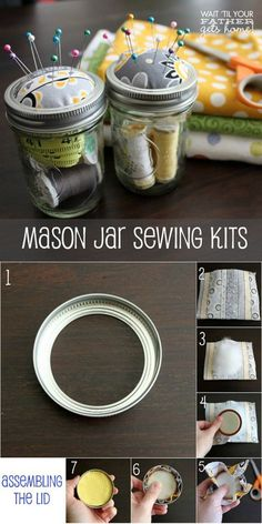 Sewing Gifts - In love with mason jar crafts? If you need some cool DIY projects to make with your mason jars in under an hour, here's our updated list to use! Pot Mason Diy, Mason Jar Gifts, Mason Jars, Glass Jars, Sewing Hacks, Sewing Crafts, Sewing Kits, Sewing Basics, Sewing Patterns
