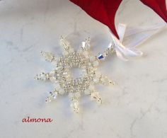 """Beaded Snowflake   PATTERN click on word """"here"""" for pattern"""