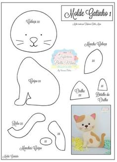 Gatinhos em feltro e tecido com moldes! Tap the link Now - The Best Cat Products We Found Worldwide! Felt Animal Patterns, Stuffed Animal Patterns, Stuffed Animals, Felt Templates, Felt Cat, Felt Christmas Ornaments, Cat Crafts, Cat Pattern, Pattern Sewing