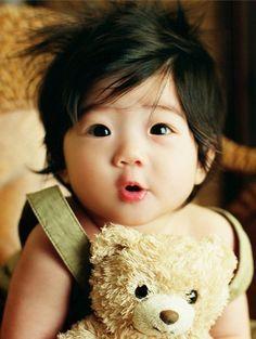 baby, bear, black, chinky, cute  Omg such a cute baby!!