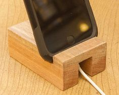 Elegant iPhone Wood Stand Mahogany, gift idea, solid wood stand, smartphone stand