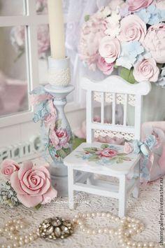 """Świeczniki ręcznie.  Fair Masters - ręcznie zestaw """"Shabby Rose"""".  Drewno: świecznik i krzesło .. Handmade."""
