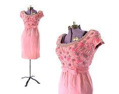 1960s Dress, Pink 60s Dress, Cocktail Dress, Beaded Dress, Sequined Dress, Party Dress, Womens Dress, Vintage Dress, Vintage Clothing