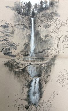Architectural sketches 568227677985930506 - Multnomah Falls Source by merimeemiggliac Landscape Sketch, Watercolor Art, Art Painting, Landscape Paintings, Art Drawings, Chinese Landscape Painting, Fantasy Landscape, Landscape Pencil Drawings, Landscape Art