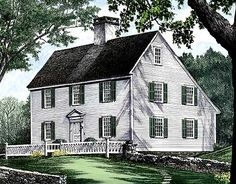 Eplans Colonial House Plan - Guilford - 2496 Square Feet and 3 Bedrooms from Eplans - House Plan Code has everything and I love Salt Box houses Colonial House Plans, Traditional House Plans, House Floor Plans, Colonial Exterior, Colonial Style Homes, Master Suite, Master Closet, Discount Bedroom Furniture, Saltbox Houses
