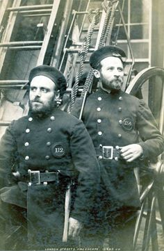 1890: Two London firefighters pose James Valentine/Hulton Archive/Getty Images
