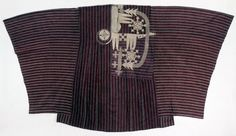 Man's gown made of imported magenta silk and cotton. Composed of numerous narrow strips. Embroidered in imported natural-coloured silk thread with the 'eight knives' pattern. Africa, Republic of Benin.