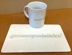 """Solange der Vorrat reicht: 1 """"gutenmorgenschnittchen"""" - Set in weiss -> jetzt nur 5,60 EUR zzgl MwSt (bestehend aus): 1 x Frühstücksbrettchen 1 x Tasse Hier abgebildete Artikel auch einzeln erhältlich (bitte fragen Sie an: info@solution-cologne.de) Mugs, Tableware, You're Welcome, Projects, Dinnerware, Tumblers, Tablewares, Mug, Dishes"""