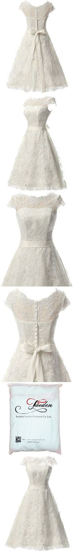 JAEDEN Women's Vintage Lace Wedding Dress Short Bridal Gown Dresses with Sash Ivory US24W