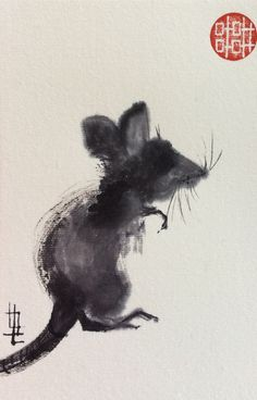 Japanese Watercolor, Japanese Painting, Chinese Painting, Japanese Art, Watercolor Art, Chinese Brush, Chinese Art, Rat Mouse, Sumi E Painting