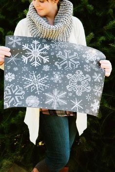 Chalk Art Wrapping Sheets - Snowflakes - Christmas Wrapping Paper - Unique Wrapping Paper - Holiday Gift Wrap - Chalkboard Art