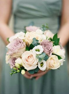 Bridesmaid's Pretty Wedding Flowers: Cream, Champagne, Vintage Lavender Roses, White Freesia, Blue Eucalyptus & Foliage