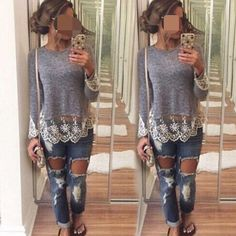 """Grey lace top-1 Super chicSuper cute and quality. Lace decorations the bottom and sleeves-2. Size L (Asian XL). Modeler size M, 5'3"""" and 126 lbs. Stretchable. Five  . (NWOT-new without tag).  The large bust is around 36-37 inches stretchable. The XL bust is around 37-38 Tops Tees - Long Sleeve"""
