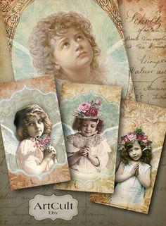 MY LITTLE PRAYER - Digital Collage Sheet Printable Gift Tags Vintage Paper Craft Art Cult Downloads