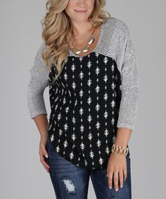This Gray & Black Diamond Knit Scoop Neck Sweater by Pinkblush is perfect! #zulilyfinds