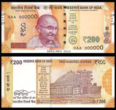 India New 200 Rupees Banknote