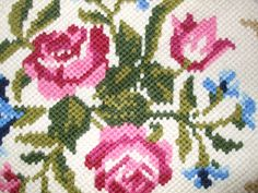 Beautiful Vintage  SWEDISH Wool Hand-Embroidered Tapestry