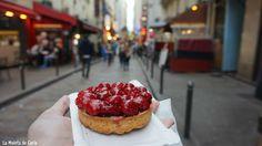Tarta de frambuesas de la pastelería Saint Michel de París. Pastelerías París
