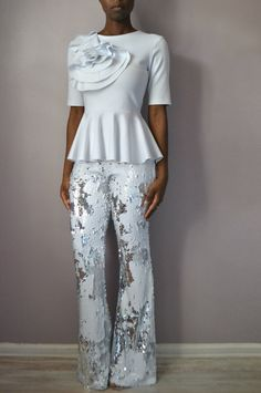 White and Silver Sequin Flare Pants front look