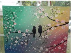 Screen Shot 2016-02-16 at 16.33.17 Cherry Blossom Painting, Cherry Blossoms, Diy Painting, Painting & Drawing, Wine And Canvas, Sakura, Love Birds, Art And Architecture, Painting Inspiration