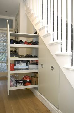 18 Useful Designs for Your Free Under Stair Storage brilliant functionally storage under staircase ideas on home decorating with under stair with grey door and white stair. Under Staircase Ideas, Storage Under Staircase, Closet Under Stairs, Under Stairs Cupboard, Basement Storage, Stair Storage, Hidden Storage, Shoe Storage, Basement Stairs