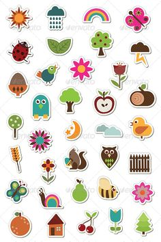 Nature Stickers  #GraphicRiver         Collection of nature stickers with flowers, animals, fruits and weather.  	 Files included – EPS 10, AICS5 & AICS, Transparent PNG, and High Res JPEG.     Created: 23August13 GraphicsFilesIncluded: TransparentPNG #JPGImage #VectorEPS #AIIllustrator Layered: No MinimumAdobeCSVersion: CS Tags: apple #bee #bird #butterfly #cherry #clouds #flower #foliage #graphic #house #illustration #ladybird #leaf #moon #nature #object #owl #pear #png #rainbow #snail…