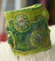 Annemie Koenen freeform embroidery textile fairy cuff with bead embellishments great design for tapestry