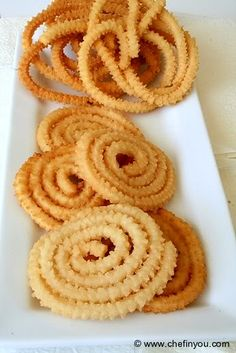 Traditional Indian savory snack prepared with butter, rice and lentil flour during festivals like Diwali and Krishna Jayanthi. Its also enjoyed year round
