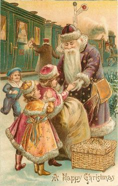 "A Christmas Post Card - UK, - ""A Happy Christmas"" - Santa at a train station, wearing a purple robe and cap. Vintage Christmas Images, Victorian Christmas, Christmas Pictures, Christmas Postcards, Christmas Scenes, Noel Christmas, Father Christmas, Xmas, Vintage Santa Claus"